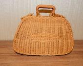 Rattan Wicker Suitcase Picnic Basket Bag