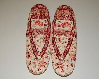 45b8811aba3 Red Batik Printed Zōri Sandals Japanese Shoes Geisha costume
