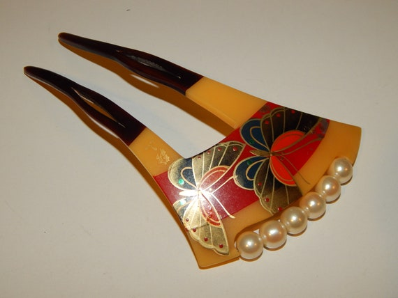 Vintage Japanese celluloid butterfly hand painted