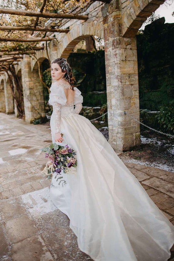 Labyrinth Fantasy Wedding Dress Ballgown With Removable Sleeves And Train Ivory And Silver Lace Uk Size 10 Ready To Ship Or Bespoke To Fit