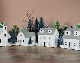 "Putz house kit - Build 4 large houses - Pre-Cut - 5"" tall"