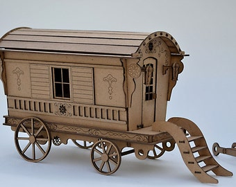 Gypsy Caravan Kit- Build your own- Vardo Wagon- miniature