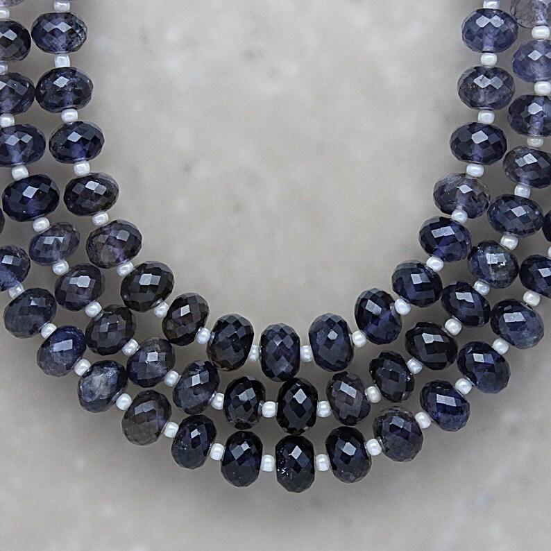 Semi-Precious Gemstones Iolite Faceted Rondelle 6.75mm