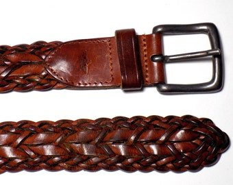 1033f31c181f2 90s Dockers Leather Woven Belt