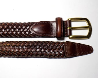8e5d62e6ba77e 90s Full Grain Cowhide Leather Braided Belt