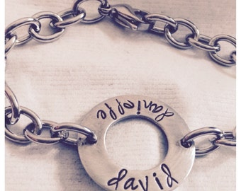 Handstamped Anniversary Bracelet, pewter & stainless steel