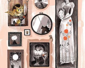 Spooky Season Picture Frames - Original Art Print 8x10