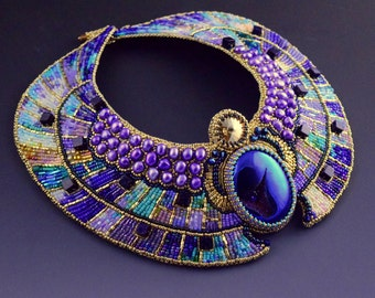 Ascension - CUSTOM ORDER - Egyptian Scarab Collar, Egyptian Necklace, Bead Embroidered