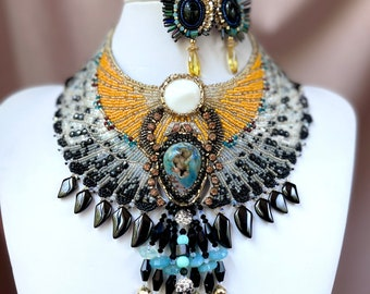 Atum Khepri, Egyptian Scarab and Hawk Wings, Gemstone and Glass Embroidered Necklace Earring and Bracelet Gift Set