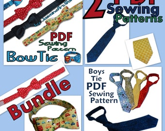 Bow Tie and Neck Tie Bundle of Two PDF Sewing Patterns