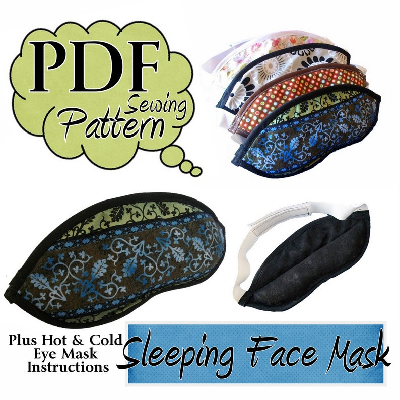 Sleeping Eye Mask PDF Sewing Pattern with instructions for hot image 0
