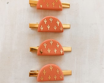 coral cacti hair clips