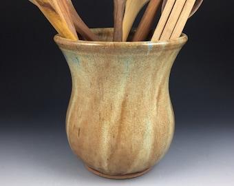 Utensil Jar, Large Spoon Jar, Utensil Crock, Kitchen Spoon Holder, Handmade Pottery Spoon Jar - In Stock and Ready to Ship