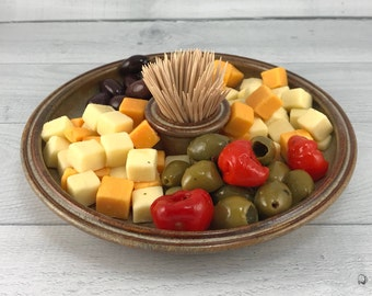 Olive Tray - Serving Platter with Toothpick Holder - Olive Dish - Snack Tray - Ceramic Appetizer Tray - Serving Dish