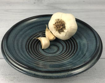 Oil Dish, Garlic Grater Dish, Oil Dipping Dish in our Denim Blue Glaze - Garlic Saucer - Olive Oil and Grater