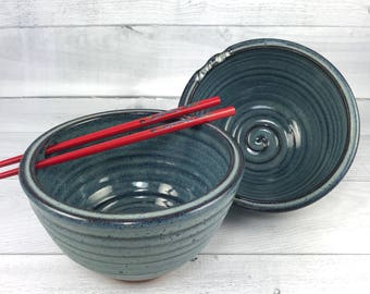 Rice Bowl Set - Pair of 2 Handmade Bowls - Pho Bowls - Noodle Bowls - Pottery Bowls Blue Glaze with Chopsticks