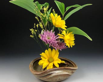 Flower vase etsy flower dish ikebana flower tray flower display handmade stoneware flower vase in stock ready to ship mightylinksfo