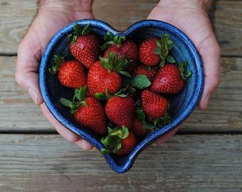 Heart Bowl, Handmade Ceramic Heart Bowl, Denim Blue Glaze, Heart Shaped Bowl, Blue Bowl, Love Gift, Mother's Day Gift