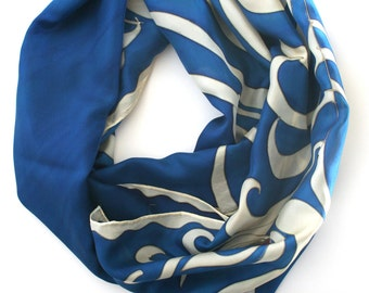 Navy scarf, peacock scarf , silk scarf hand painted,