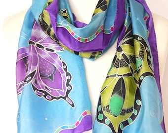 Blue butterfly silk scarf - butterfly scarf - hand painted silk scarf