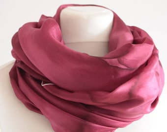 Maroon wine red scarf, hand painted silk scarf wrap , huge wrap for her