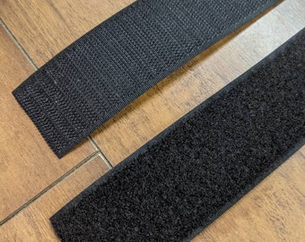 """1.5"""" Black Sew On Flame Retardant Hook and Loop Tape by the foot"""