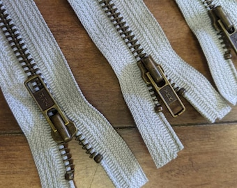 10 count YKK grey separating jacket metal  zippers -  11.5 inches