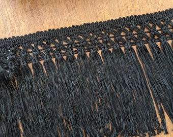 """4.75"""" wide black  knotted fringe - by the yard"""
