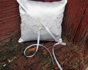Handmade White Satin Ring Bearer Pillow