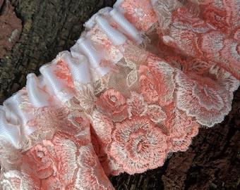 Coral Embroidered Lace Garter Belt