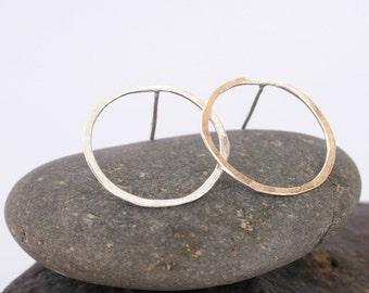 Big circle earrings, open circle earrings, sterling silver earrings, simple circle earrings, geometric earrings, hoop earrings