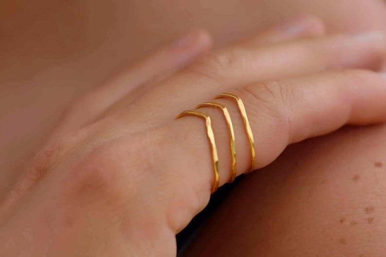 Triple Bar Ring Layering Ring Adjustable Ring Stacking Ring Gold Layering Ring