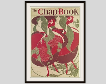 Poster Print, Vintage Art Nouveau Poster, The Twins, The Chap Book, Will Bradley, Home Decor, Wall Art, Cottage Decor, Olive Green, Dark Red
