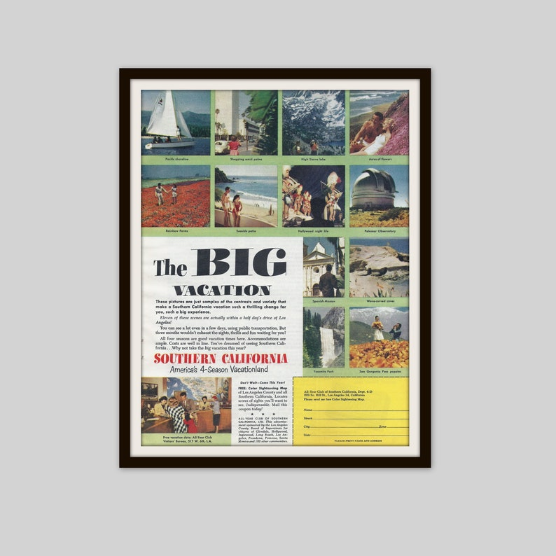 1953 Vintage California Travel Ad, Southern California Ad, 1950s  California, Vacation Travel Ad, Travel Decor, Travel Gift, Mid Century Ad