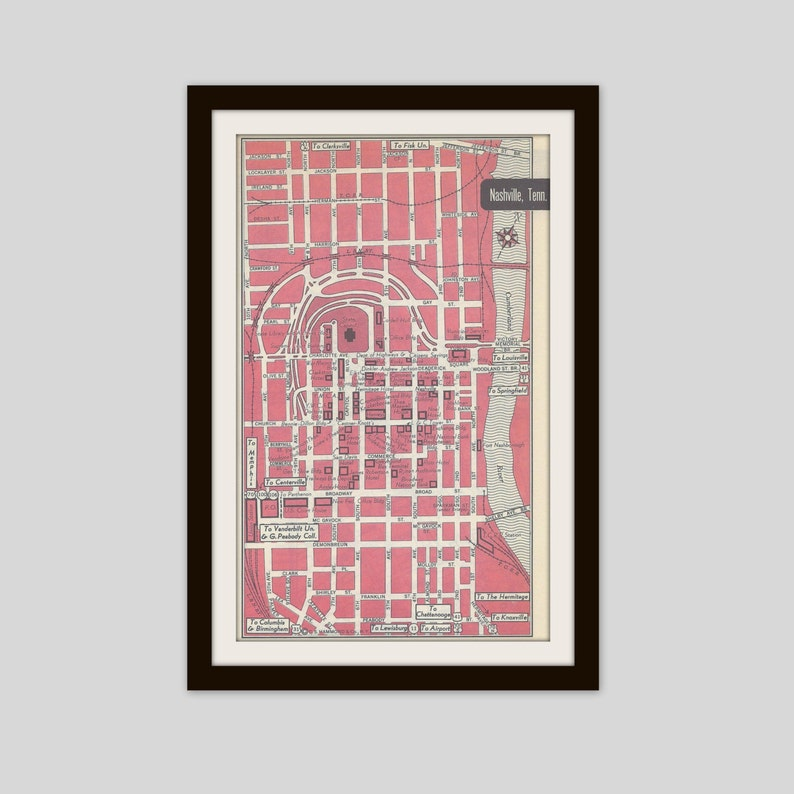 Nashville Tennessee Map City Map Street Map 1950s 2 Sided   Etsy