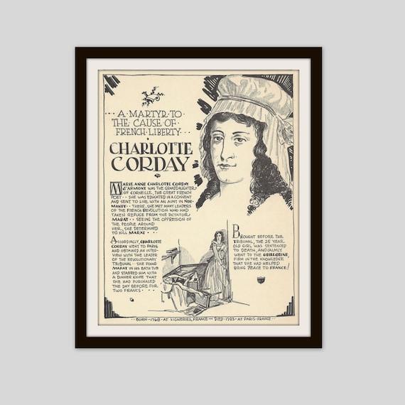 Charlotte Corday, Vintage Art Print, Classroom Art, Teacher Gift, History  Gift, French History, French Revolution, European History, France