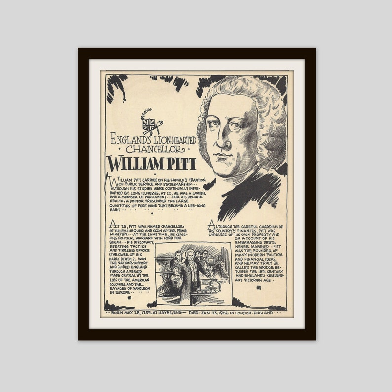 William Pitt, Vintage Art Print, Classroom Art, History Teacher Gift,  Political History, British History, Political Art, England, Politics