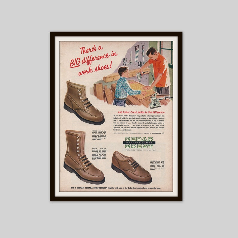 9131cbb963507 Cedar Crest Work Shoes, 1965 Vintage Shoe Ad, Mens Fashion Ad, Retro Ad,  Old Ad, Footwear, Work Wear, Original Magazine Ad, Mid Century Ad