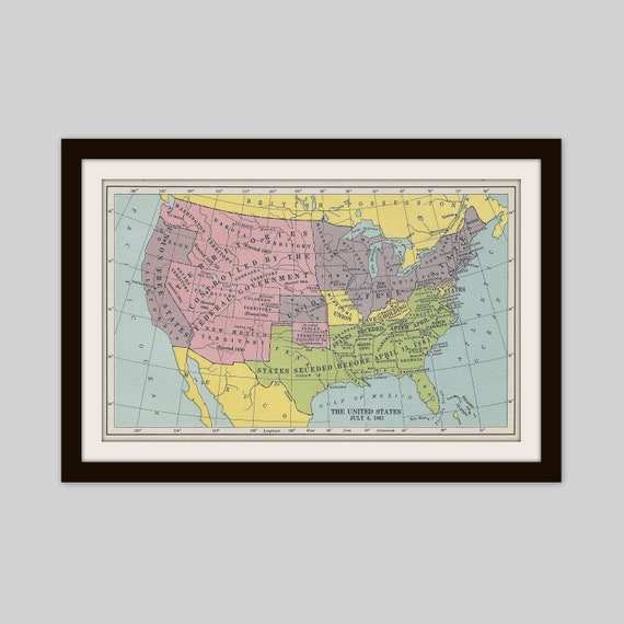 24x36 Vintage Civil War Map of the Confederate States 1861