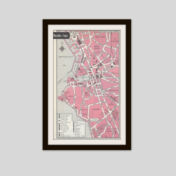 Marseilles France Map City Map Street Map 1950s Pink Etsy