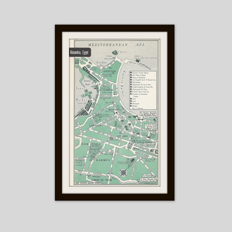 Alexandria Egypt Map City Map Street Map 1950s Green   Etsy