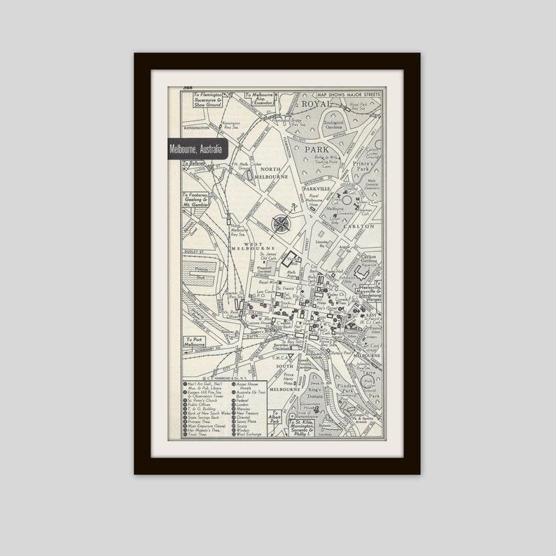 Melbourne Australia City Map.Melbourne Australia Map City Map Street Map 1950s Black Etsy
