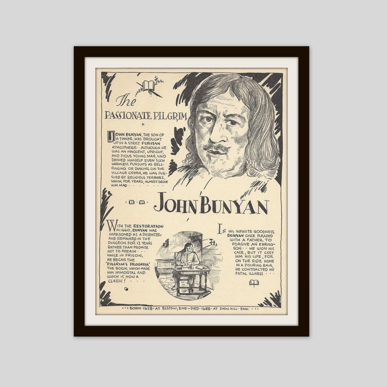 John Bunyan, Vintage Art Print, Religious History, Puritan, Baptist,  Religious Freedom, History Print, The Pilgrims Progress, Literary Art