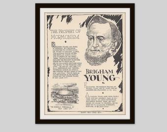 Brigham Young, Vintage Art Print, Mormon, Prophet, LDS, Latter Day Saints, Mormonism, History Print, Religion Print, American History
