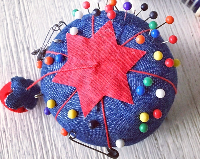 Blue Denim Tomato Pincushion with Strawberry Emory