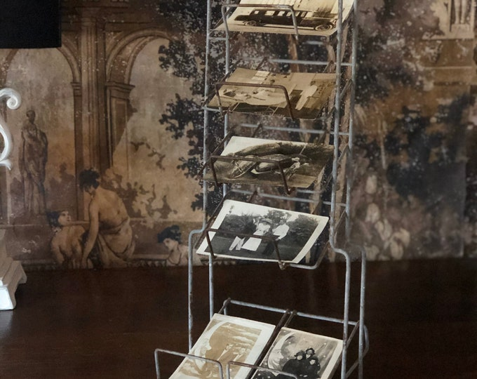 Vintage Postcard Display Rack 5 Tier Wire General Store Counter Top Photo Card Organization