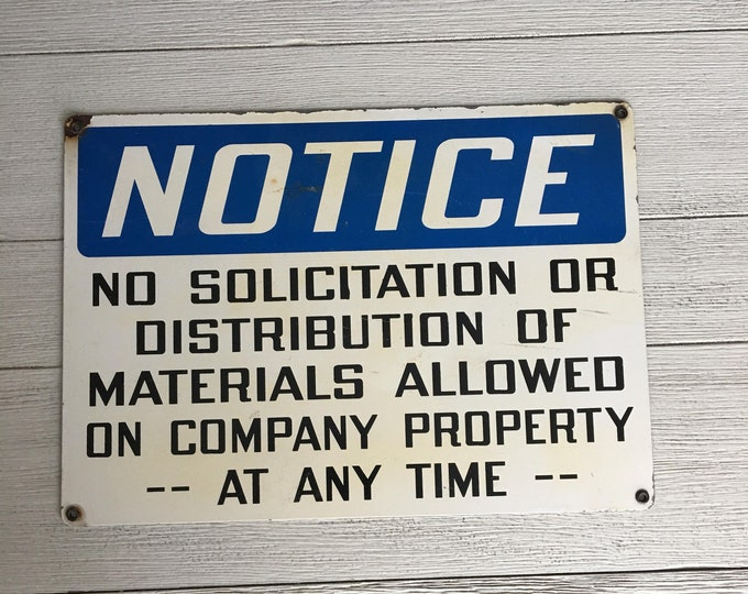 No Soliciting Sign Blue White Vintage Metal Industrial Decor