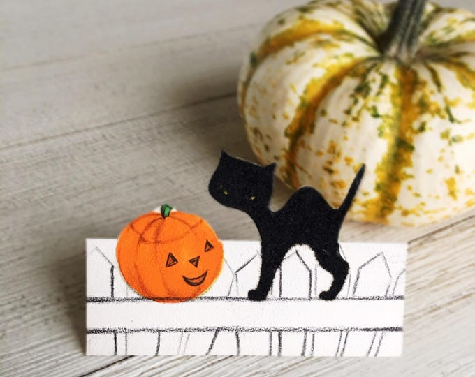 Halloween Black Cat Place Cards Vintage Hallmark Unused Party Supply