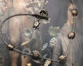Elena Cantacuzène Necklace Vintage Crystal & Silver Pewter Signed Paris Boho Chic