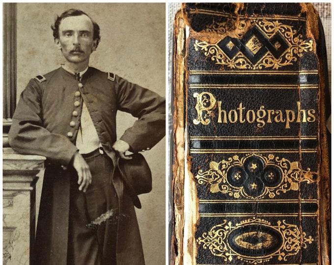 Antique Leather Photo Album with CDVs & Tintypes Civil War Era Whitlock Pool Family